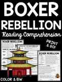 Boxer Rebellion in China Reading Comprehension Worksheet Imperialism