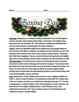 Boxing Day - UK Holiday Review Article History Facts Questions Lesson Worksheets