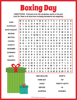 Boxing Day Word Search Puzzle
