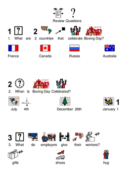 Boxing Day - picture supported text lesson questions visuals facts