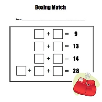 Boxing Match Addition Game