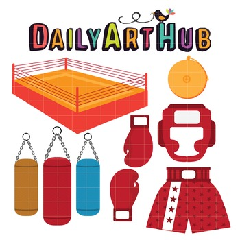 Boxing Stuff Clip Art - Great for Art Class Projects!