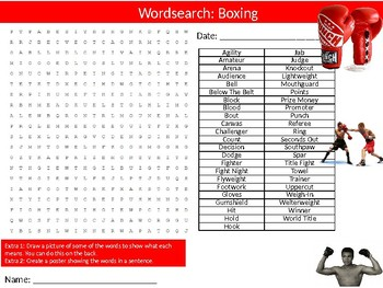 Boxing Wordsearch Puzzle Sheet Keywords Sport Health Physical Education
