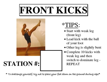 Boxing/Kickboxing (Boxercise) Station Cards