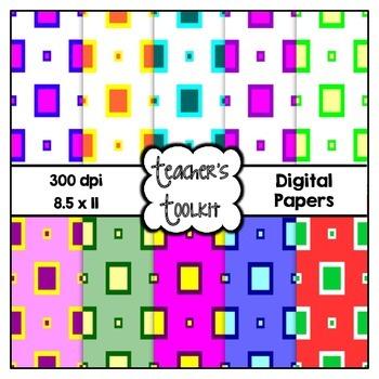 Boxy Digital Background Papers {8.5 x 11} Clip Art CU OK