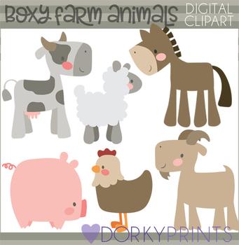 Boxy Farm Animals Clipart