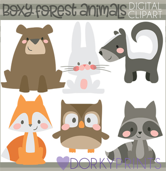 Boxy Woodland Animals Clipart