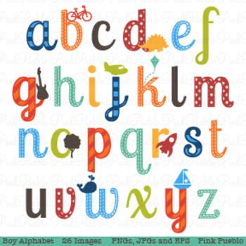 Boy Alphabet Letters Clipart and Vectors - Lowercase
