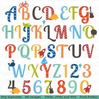 Boy Alphabet Letters Clipart and Vectors - Uppercase