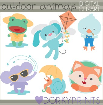 Boy Animals Spring and Summer Clip Art