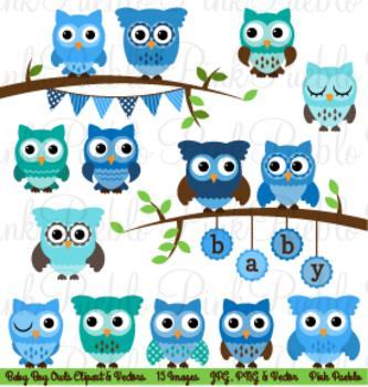 Boy Baby Shower Owls Clipart Clip Art