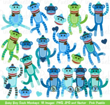 Boy Baby Shower Sock Monkeys Clipart Clip Art - Commercial and Personal Use