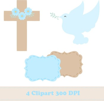 Boy Baptism Digital Paper + Clipart