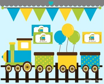 Boy birthday train clipart commercial use