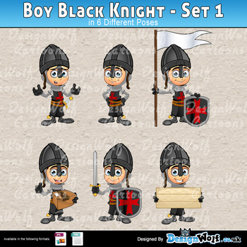 Boy Black Knight Character - Set 1