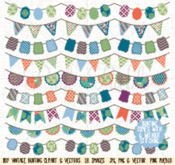 Boy Bunting Clipart Clip Art, Vintage Bunting - Commercial and Personal Use