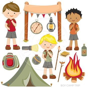 Boy Camp Trip Cute Digital Clipart, Camping Hiking Graphics