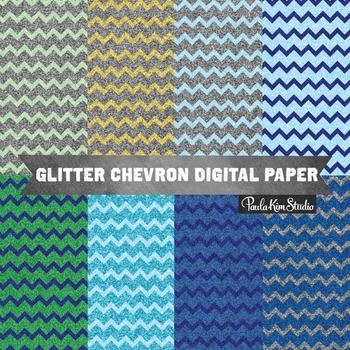 Digital Paper - Glitter Chevron