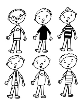 Boy Clip Art, Multicultural with Face Masks by Draw and ...