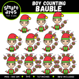 Boy Counting Bauble Clip Art