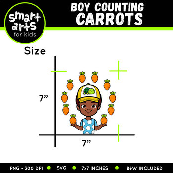 Boy Counting Carrots Clip Art