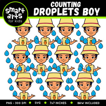 Boy Counting Droplets Clip Art