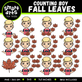 Boy Counting Fall Leaves Clip Art