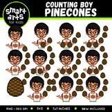 Boy Counting Pinecones Clip Art