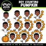 Boy Counting Pumpkins Clip Art