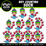 Boy Counting Sock Clip Art