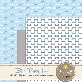 SET: Boy Dog Digital Papers and Clipart, Puppy