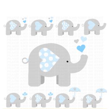 Boy Elephant Clip Art - Elephant Clipart - Animals Clip Art