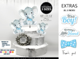 Boy Elephant with Blue Bow Tie Centrepiece, topper, decoration for Boy shower