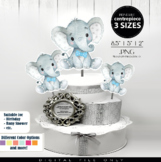 Boy Elephant with Blue Bow Tie Centrepiece,topper,decoration for shower birthday
