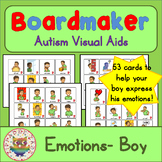 Boy Emotion Feelings Cards - Boardmaker Teen Visual Aids for Autism