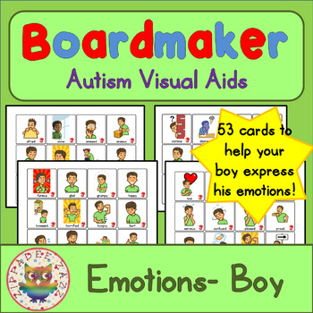 Boy Emotion Feelings Cards - Boardmaker Teen Visual Aids for Autism