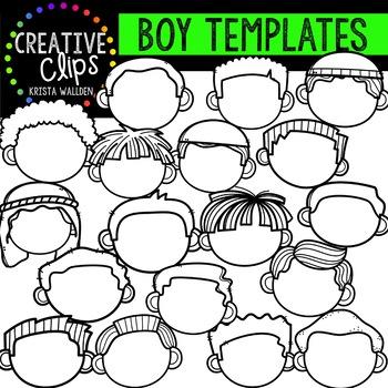 Boy Face Templates {Creative Clips Clipart}