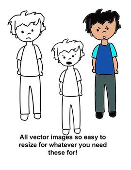 Boy Facial Expressions 28 clip art versions with color and transparent outline