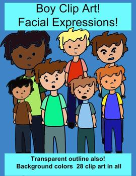 Boy Facial Expressions 28 clip art versions with color and