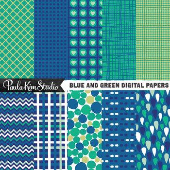 Digital Paper - Green Blue