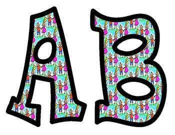 Boy Girl Alphabet Bulletin Board Letters