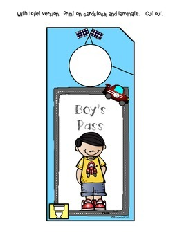 Boy Girl Bathroom Pass Passes Pink & Blue Door Hangers SO CUTE! Free Freebie