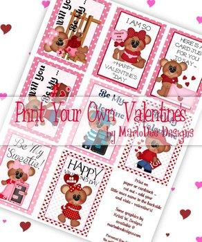 Boy & Girl Bears Printable Childrens Valentine Cards d1