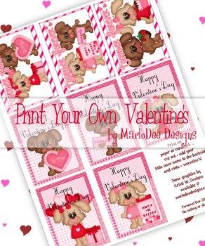 Boy & Girl Dogs Printable Childrens Valentine Cards d1