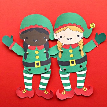 Boy & Girl Elf Puppets for Christmas Fun - STEAM Craft Activity (Printable)