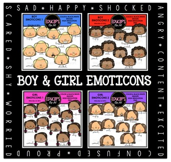 Boy & Girl Emoticons Clip Art Bundle {Educlips Clipart}