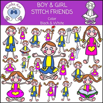 Boy & Girl - Stitch Friends Clip Art