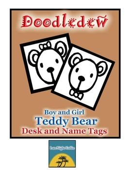 Boy & Girl Teddy Bear Desk and Name Tags
