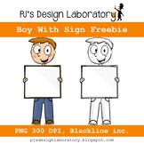 Boy Holding Sign Freebie!