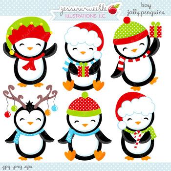 Boy Jolly Penguins - Cute Digital Clipart, Christmas Graphics